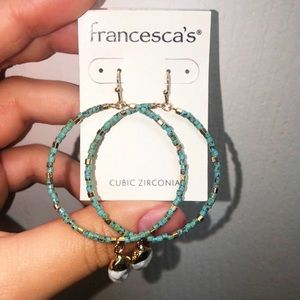 ELLEN TURQUOISE BEADED CIRCLE DROP EARRINGS